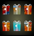 colorful dots wrapping paper gifts with ribbons vector image vector image