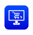 computer monitor with shopping cart icon digital vector image vector image