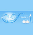 contact lenses and solution bottle mock up banner vector image