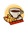 cup of coffee tea and croissant hot drink vector image vector image