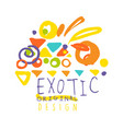 exotic logo original design summer vacation vector image vector image