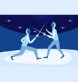 fencing man mask training duel swordsman arena vector image