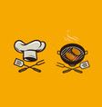 food logo or label bbq barbecue vector image vector image