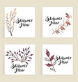 four square cards hand drawn creative flowers vector image vector image
