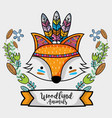 fox tribal animal with feathers design vector image