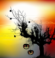 Halloween background with the scary tree vector image vector image