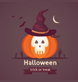 halloween pumpkin with cute face on dark vector image vector image