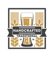 handcrafted traditional beer retro logo vector image vector image