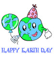 happy earth day world and balloon vector image vector image