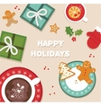 happy holidays top view of Christmas celebration vector image vector image