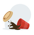 hot spilled coffee paper cup vector image vector image