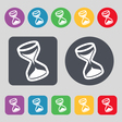 hourglass icon sign A set of 12 colored buttons vector image