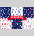 independence day of america festive pattern set vector image vector image