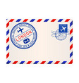 international air mail envelope from london with vector image vector image