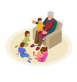 isometric grandfather tells grandchildren tales in vector image