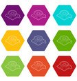 magnifying glass over map icons set 9 vector image vector image