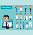 medical doctor set cute cartoon character eps10 vector image vector image