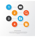 multimedia icons set collection of media folder vector image