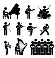 musician pianist guitarist choir drummer singer vector image