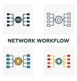 Network workflow icon set four elements in