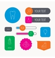 Pacifier baby boy and bottle icons Tooth sign vector image vector image