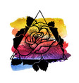 rose flower with sacred watercolour and geometry vector image