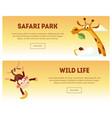 safari park wild life horizontal banners set vector image vector image