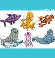 sea life animal species characters set vector image vector image