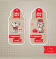 set of sale tags includes cat gift vector image