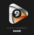 silver number nine logo in golden-silver triangle vector image vector image