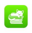 sleeping cat icon green vector image