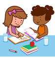 students doing their homework vector image vector image