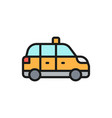 taxicab taxi cab flat color line icon isolated vector image vector image