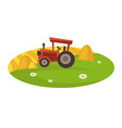 tractor on field collects hay in neat stacks vector image vector image