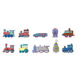 train icon set cartoon style vector image