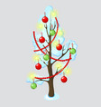 urban tree decorated with christmas ornaments vector image