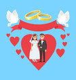 wedding day concept couple in ruddy big heart vector image vector image