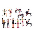 women exercises with weights vector image