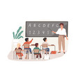 young teacher with pointer at chalkboard vector image