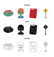 zombies and attributes cartoonblackoutline icons vector image