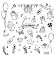 hand drawn doodle party set cerebrate decoration vector image