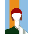 a girl in a red hat vector image