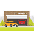 automobile repair shop garage the car on vector image vector image