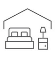 bedroom thin line icon hotel and sleep bed sign vector image vector image