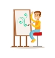 Boy Drawing Creative Child Practicing Arts In Art vector image vector image