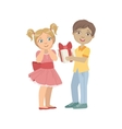 Boy Giving A Present To Girl With Ponytails vector image vector image
