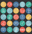 camping line icons set for graphic and web design vector image