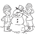 Cartoon Kids Building a Snowman vector image
