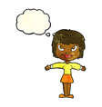 cartoon woman with open amrs with thought bubble vector image