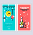 christmas and new year linear cards set vector image vector image